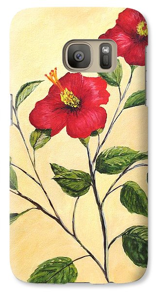 Galaxy Case featuring the painting Red Hibiscus by June Holwell