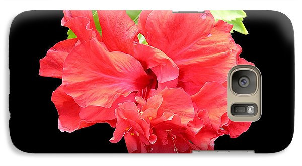 Galaxy Case featuring the photograph Red Hibiscus On Black by Karen Nicholson