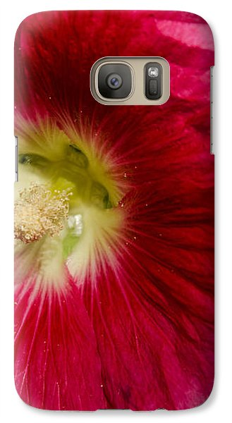 Galaxy Case featuring the photograph Red Hollyhock Althaea Rosea by Sue Smith