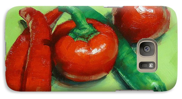 Galaxy Case featuring the painting Red Hot Chilli Peppers by Margaret Stockdale