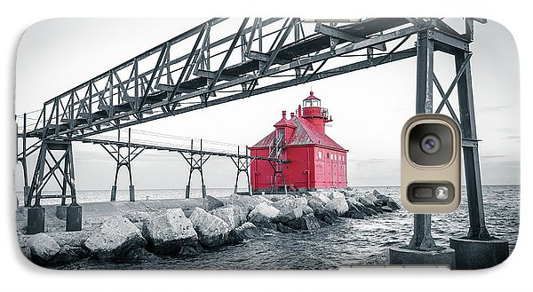 Galaxy Case featuring the photograph Red Light On Lake Michigan by Mark David Zahn
