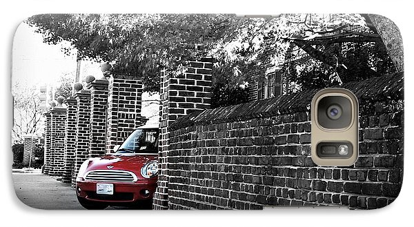 Galaxy Case featuring the photograph Red Mini Cooper- The Debut by Nancy Dole McGuigan