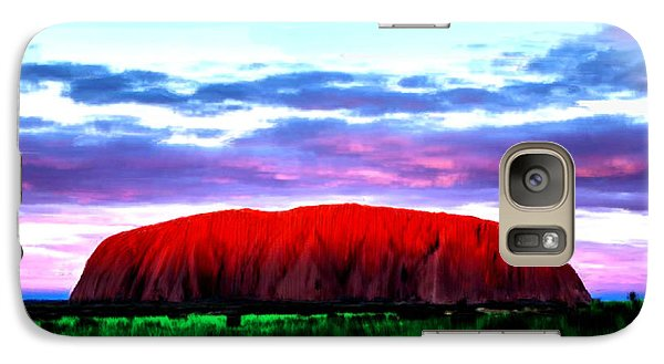 Galaxy Case featuring the painting Red Mountain Sunset by Bruce Nutting