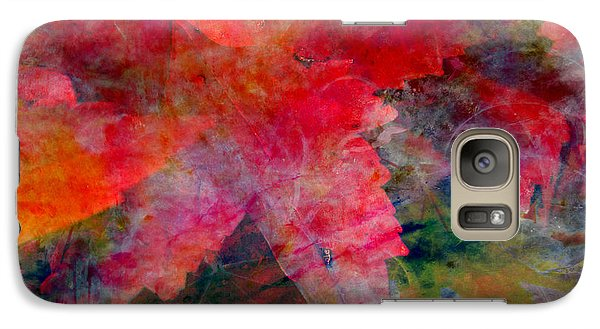 Galaxy Case featuring the painting Red Nature Abstract Autumn Leaf by John Fish