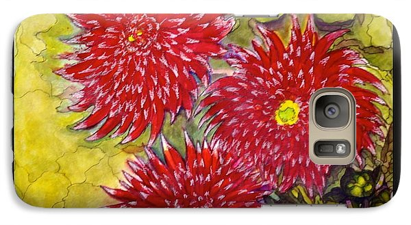 Galaxy Case featuring the painting Red N'white Mums by Rae Chichilnitsky