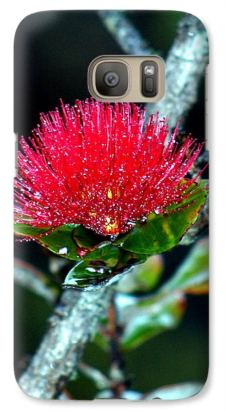 Galaxy Case featuring the photograph Red Ohia Lehua In Hawaii Volcano Mist by Lehua Pekelo-Stearns
