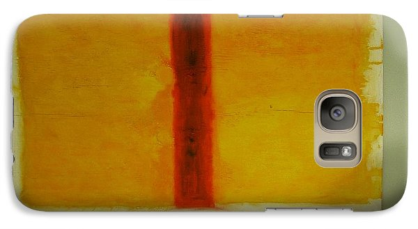Galaxy Case featuring the painting Red  On Yellow by Phoenix De Vries