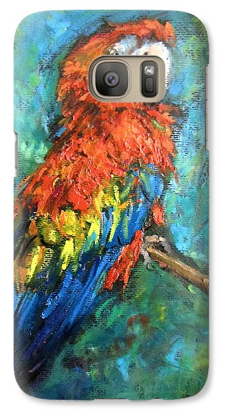 Galaxy Case featuring the painting Red Parot by Jieming Wang