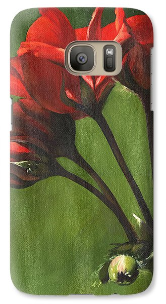 Galaxy Case featuring the painting Red Pelargonium by Alecia Underhill