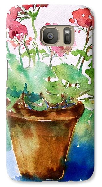 Galaxy Case featuring the painting Red Pelargonium  by Trudi Doyle