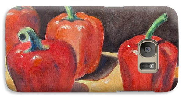 Galaxy Case featuring the painting Red Peppers by Melinda Saminski