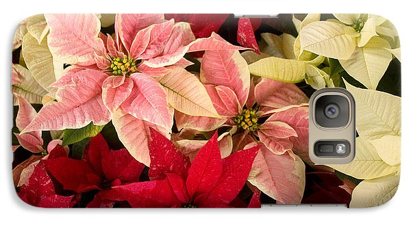 Galaxy Case featuring the photograph Red Pink And White Poinsettias by Chris Scroggins