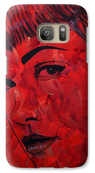 Galaxy Case featuring the painting Red Pop Bettie by Malinda Prudhomme