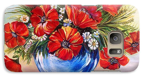 Galaxy Case featuring the painting Red Poppies In Blue Vase by Iya Carson