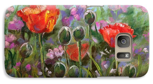 Galaxy Case featuring the pastel Red Poppies by Julie Maas