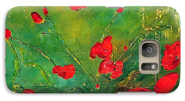 Galaxy Case featuring the painting Red Poppies by Teresa Wegrzyn