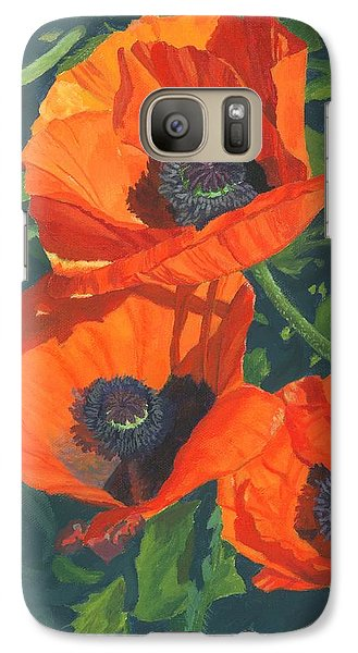 Galaxy Case featuring the painting Red Poppies Three by Lynne Reichhart