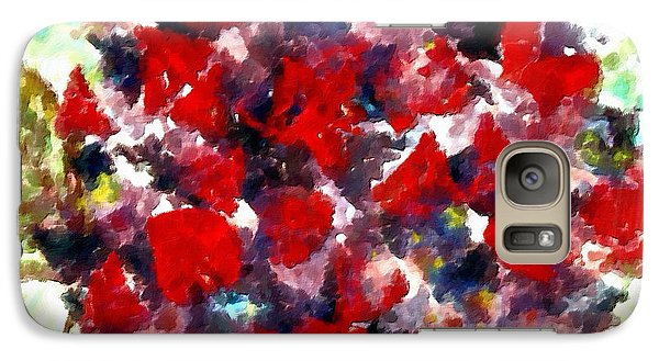 Galaxy Case featuring the painting Red Purple Flower by Joan Reese
