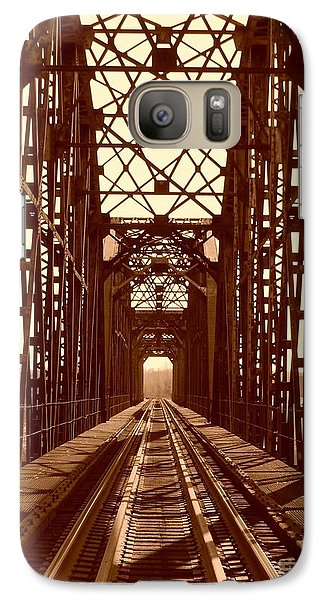 Galaxy Case featuring the photograph Red River Train Bridge #1 by Robert ONeil
