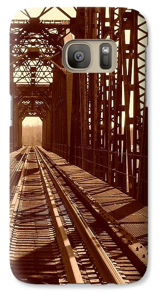 Galaxy Case featuring the photograph Red River Train Bridge #2 by Robert ONeil