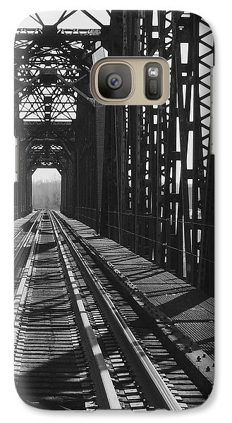 Galaxy Case featuring the photograph Red River Train Bridge #3 by Robert ONeil