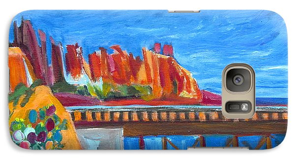 Galaxy Case featuring the painting Red Rocks And Railroad Trestle by Betty Pieper