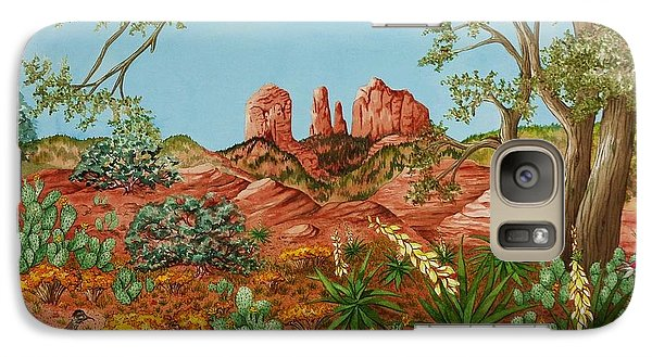 Galaxy Case featuring the painting Landscapes Desert Red Rocks Of Sedona Arizona by Katherine Young-Beck