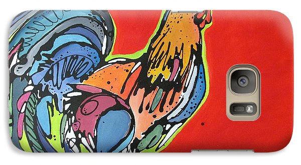 Galaxy Case featuring the painting Red Rooster by Nicole Gaitan