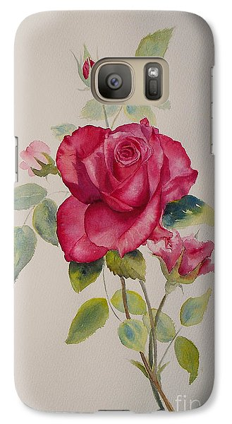 Galaxy Case featuring the painting Red Rose by Beatrice Cloake