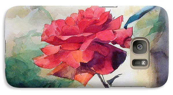 Galaxy Case featuring the painting Red Rose On A Branch by Greta Corens