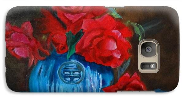Galaxy Case featuring the painting Red Roses And Blue Vase by Jenny Lee