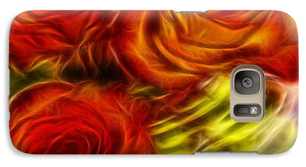 Galaxy Case featuring the painting Red Roses In Water - Fractal  by Lilia D