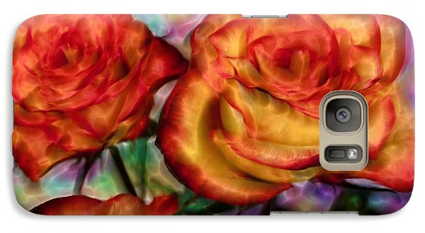 Galaxy Case featuring the digital art Red Roses In Water - Silk Edition by Lilia D