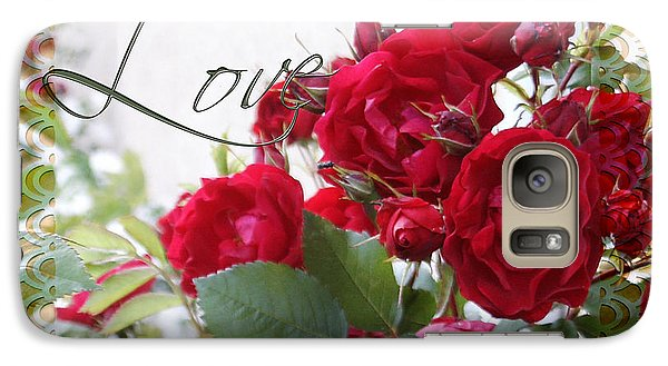 Galaxy Case featuring the photograph Red Roses Love And Lace by Sandra Foster