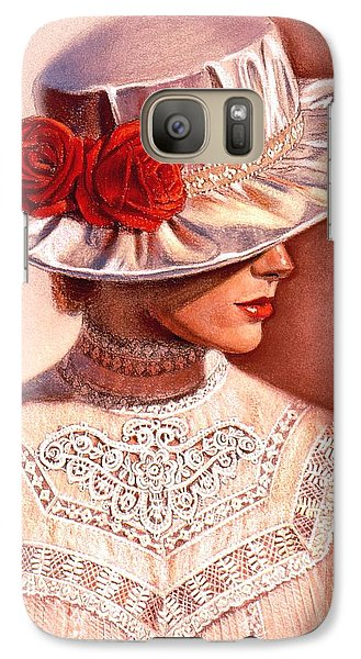 Galaxy Case featuring the painting Red Roses Satin Hat by Sue Halstenberg