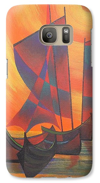 Galaxy Case featuring the painting Red Sails In The Sunset by Tracey Harrington-Simpson