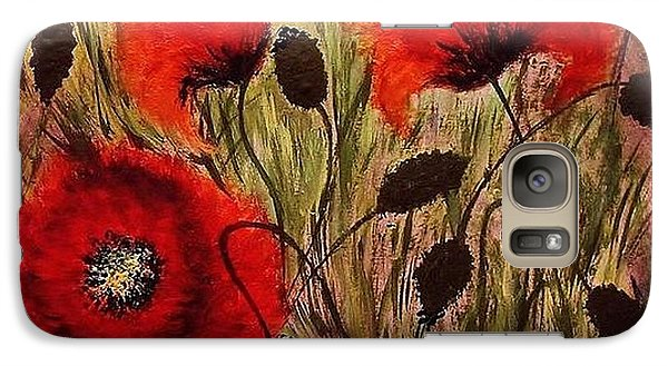 Galaxy Case featuring the painting Red Sparks... by Cristina Mihailescu