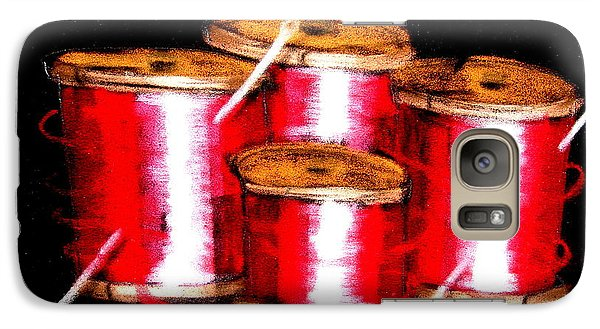 Galaxy Case featuring the drawing Red Spools 3 by Joseph Hawkins