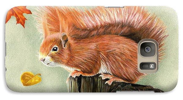 Red Squirrel In Autumn Galaxy Case by Sarah Batalka
