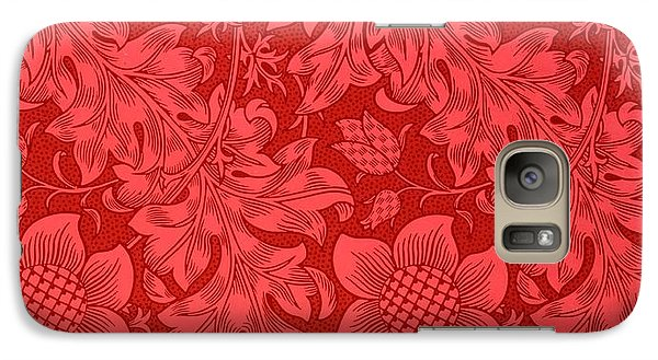 Flowers Galaxy S7 Case - Red Sunflower Wallpaper Design, 1879 by William Morris