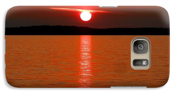 Galaxy Case featuring the photograph Red Sunset Over Bellingham Bay by Karen Molenaar Terrell