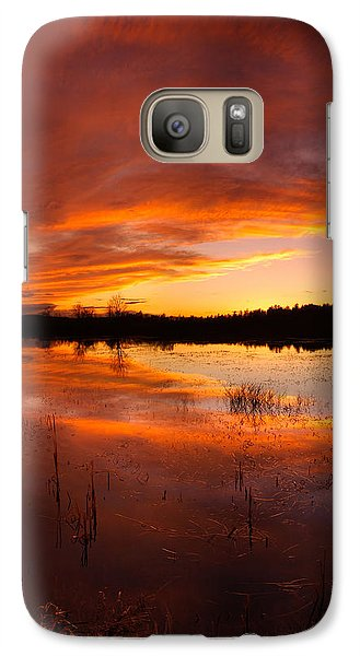 Galaxy Case featuring the photograph Red Sunset Over Massabesic Lake by Sebastien Coursol