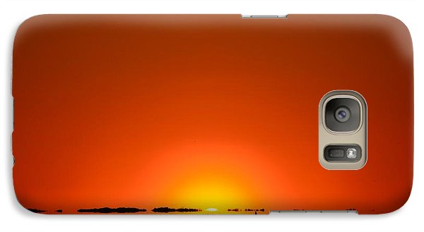 Galaxy Case featuring the photograph Red Sunset With Superior Mirage On Santa Rosa Sound by Jeff at JSJ Photography
