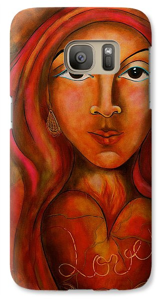 Galaxy Case featuring the painting Red Thread Madonna by Deborha Kerr