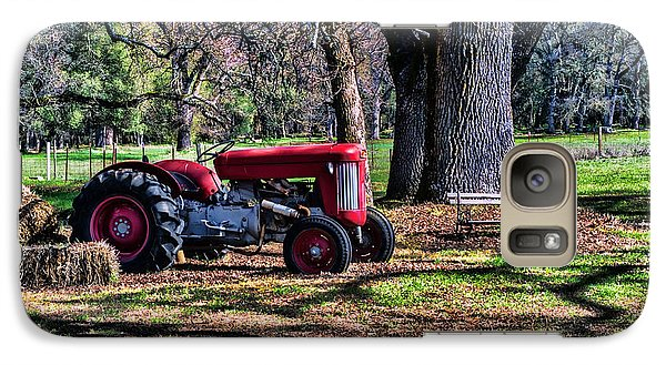 Galaxy Case featuring the photograph Red Tractor On The Farm by William Havle