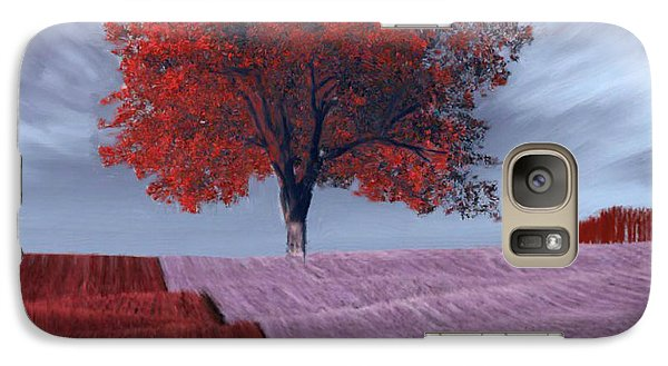 Galaxy Case featuring the painting Red Tree In A Field by Bruce Nutting