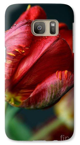 Tulip Galaxy S7 Case - Red Tulip With Dew by Nailia Schwarz