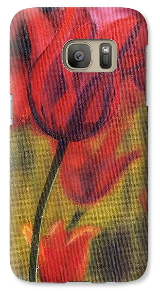 Galaxy Case featuring the painting Red Tulips by Donna Tuten