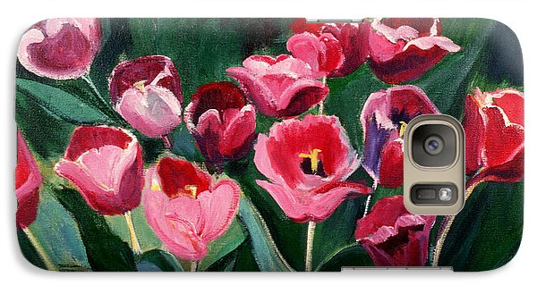 Galaxy Case featuring the painting Red Tulips In A Baker's Dozen by Betty Pieper