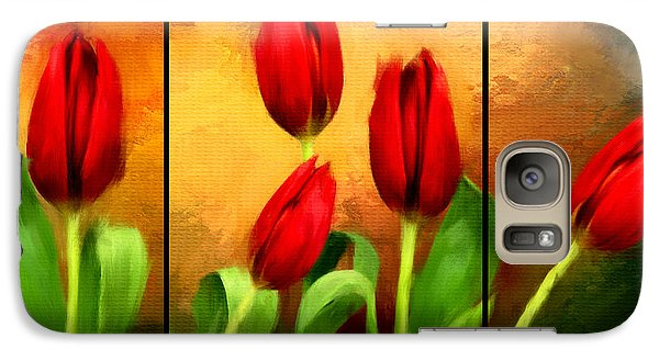 Red Tulips Triptych Galaxy Case by Lourry Legarde